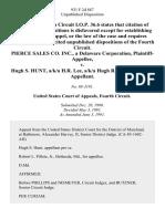 Pierce Sales Co. Inc., a Delaware Corporation v. Hugh S. Hunt, A/K/A H.R. Lee, A/K/A Hugh R. Lee, 931 F.2d 887, 4th Cir. (1991)