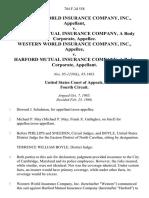 Western World Insurance Company, Inc. v. Harford Mutual Insurance Company, a Body Corporate, Western World Insurance Company, Inc. v. Harford Mutual Insurance Company, a Body Corporate, 784 F.2d 558, 4th Cir. (1986)