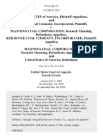 United States of America, and Red River Coal Company, Incorporated v. Manning Coal Corporation Kenneth Manning, Red River Coal Company, Incorporated v. Manning Coal Corporation Kenneth Manning, and United States of America, 977 F.2d 117, 4th Cir. (1993)