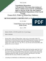 Frances Day, Widow of Wilson Day v. Beth-Elkhorn Corporation, 798 F.2d 469, 4th Cir. (1986)