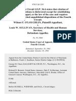 Wilmot F. O'LOughLin v. Louis W. Sullivan, Secretary of Health and Human Services, 978 F.2d 1255, 4th Cir. (1992)