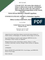 Edwin Durant Rhodes v. United States of America, and Hilton Graham Johnson, 995 F.2d 1063, 4th Cir. (1993)