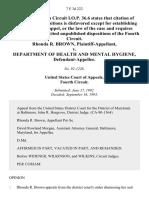 Rhonda R. Brown v. Department of Health and Mental Hygiene, 7 F.3d 222, 4th Cir. (1993)