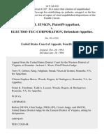 David H. Jenkin v. Electro-Tec-Corporation, 16 F.3d 410, 4th Cir. (1994)
