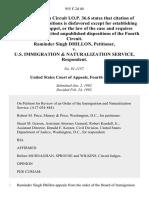 Raminder Singh Dhillon v. U.S. Immigration & Naturalization Service, 955 F.2d 40, 4th Cir. (1992)