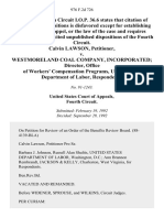 Calvin Lawson v. Westmoreland Coal Company, Incorporated Director, Office of Workers' Compensation Programs, United States Department of Labor, 976 F.2d 726, 4th Cir. (1992)