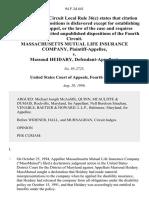 Massachusetts Mutual Life Insurance Company v. Massoud Heidary, 94 F.3d 641, 4th Cir. (1996)