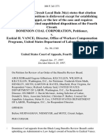 Dominion Coal Corporation v. Ezekial H. Vance Director, Office of Workers Compensation Programs, United States Department of Labor, 108 F.3d 1371, 4th Cir. (1997)