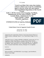 Kelly L. Dunk, Estate of the Foregoing Ted Blady, Administrator for the Estate of Kelly L. Dunk Lucinda Blady, Administrator for the Estate of Kelly L. Dunk v. United States, 77 F.3d 468, 4th Cir. (1996)
