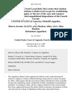 United States v. Shawn Jerome Allen, A/K/A Rashon Allen, A/K/A Allen Rashon, 86 F.3d 1152, 4th Cir. (1996)