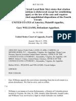 United States v. Gary Williams, 86 F.3d 1154, 4th Cir. (1996)