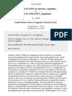 United States v. John R. Willett, 432 F.2d 202, 4th Cir. (1970)