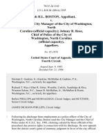 Joseph H.L. Boston v. Jack H. Webb, City Manager of the City of Washington, North Carolina (Official Capacity) Johnny R. Rose, Chief of Police of the City of Washington, North Carolina (Official Capacity), 783 F.2d 1163, 4th Cir. (1986)