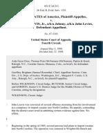 United States v. John Leslie Leavis, Jr., A/K/A Johnny, A/K/A John Levies, 853 F.2d 215, 4th Cir. (1988)