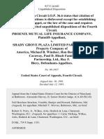 Phoenix Mutual Life Insurance Company v. Shady Grove Plaza Limited Partnership, Property Company of America, Michael B. Windsor, Ron Beneke, Hugh Caraway, Paul D. Hinch Family Partnership, Ltd., Ray F. Biery, 937 F.2d 603, 4th Cir. (1991)