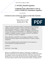 Linda J. Myers v. Hercules, Incorporated Provident Life & Accident Insurance Company, 253 F.3d 761, 4th Cir. (2001)