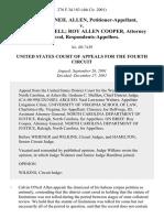 Calvin O'Neil Allen v. David Mitchell Roy Allen Cooper, Attorney General, 276 F.3d 183, 4th Cir. (2001)