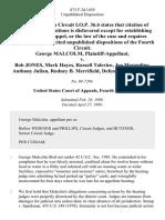 George Malcolm v. Bob Jones, Mark Hayes, Russell Talerico, Joe Merendino, Anthony Julian, Rodney B. Merrifield, 873 F.2d 1439, 4th Cir. (1989)
