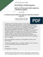 Ana Marie Kurfees v. U. S. Immigration & Naturalization Service, 275 F.3d 332, 4th Cir. (2001)