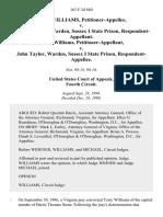 Terry Williams v. John Taylor, Warden, Sussex I State Prison, Terry Williams v. John Taylor, Warden, Sussex I State Prison, 163 F.3d 860, 4th Cir. (1998)