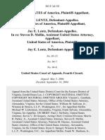 United States v. Jay E. Lentz, United States of America v. Jay E. Lentz, in Re