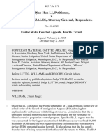 Qiao Hua Li v. Alberto R. Gonzales, Attorney General, 405 F.3d 171, 4th Cir. (2005)