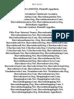 Harrods Limited v. Sixty Internet Domain Names, 302 F.3d 214, 4th Cir. (2002)