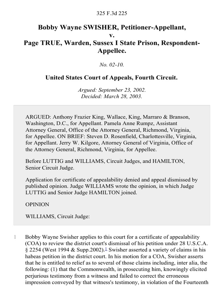 Bobby Wayne Swisher V Page True Warden Sussex I State Prison 325 No The Court Of Appeals Virginia Is A Appellate For F3d 225 4th Cir 2003 Supreme United States