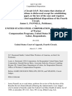 James L. Pannell v. United States Steel Corporation, Director, Office of Worker Compensation Programs, United States Department of Labor, 842 F.2d 1292, 4th Cir. (1988)