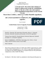 Maxie Rose Cahill, Alden Lee Cahill v. Hca Management Company, Inc., 854 F.2d 1316, 4th Cir. (1988)
