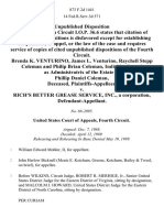 Brenda K. Venturino, James L. Venturino, Raychell Stepp Coleman and Philip Brian Coleman, Individually and as Administratrix of the Estate of Phillip Daniel Coleman, Deceased v. Rich's Better Grease Service, Inc., a Corporation, 873 F.2d 1441, 4th Cir. (1989)