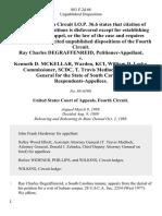 Ray Charles Degraffenreid v. Kenneth D. McKellar Warden, Kci, William D. Leeke, Commissioner, Scdc, T. Travis Medlock, Attorney General for the State of South Carolina, 883 F.2d 68, 4th Cir. (1989)