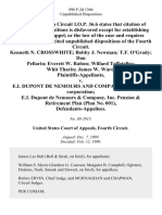 Kenneth N. Crosswhite Bobby J. Newman T.F. O'Grady Dan Pellarin Everett W. Rabon Willard Teffeteller Whit Tharin James W. Ward v. E.I. Dupont De Nemours and Company, a Delaware Corporation E.I. Dupont De Nemours & Company, Inc. Pension & Retirement Plan (Plan No. 001), 896 F.2d 1366, 4th Cir. (1990)