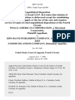 Wells American Corporation, a Maryland Corporation v. Ziff-Davis Publishing Company, a Division of Ziff Communications Company, 900 F.2d 258, 4th Cir. (1990)