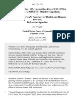 30 soc.sec.rep.ser. 185, unempl.ins.rep. Cch 15730a William F. Garnett v. Louis W. Sullivan, Secretary of Health and Human Services, 905 F.2d 778, 4th Cir. (1990)