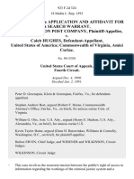 In the Matter of the Application and Affidavit for a Search Warrant. The Washington Post Company v. Caleb Hughes, United States of America Commonwealth of Virginia, Amici Curiae, 923 F.2d 324, 4th Cir. (1991)
