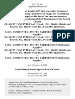 Quality Inns International, Inc., Quality Hotels and Resorts, Inc., Quality Inns, Inc. v. L.B.H. Associates Limited Partnership, Quality Inns International, Inc., Quality Hotels and Resorts, Inc., Quality Inns, Inc. v. L.B.H. Associates Limited Partnership, Quality Inns International, Inc., Quality Hotels and Resorts, Inc., Quality Inns, Inc. v. L.B.H. Associates Limited Partnership, 929 F.2d 694, 4th Cir. (1991)