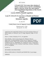 Lorene Johns v. Louis W. Sullivan, Secretary of Health and Human Services, 947 F.2d 941, 4th Cir. (1991)