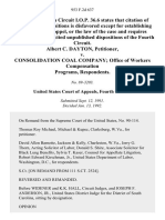 Albert C. Dayton v. Consolidation Coal Company Office of Workers Compensation Programs, 953 F.2d 637, 4th Cir. (1992)