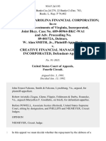 In Re Virginia-Carolina Financial Corporation in Re Executive Investments of Virginia, Incorporated, Joint Bkcy. Case No. 689-00964-Bkc-Wa1 and Adv. Proceeding No. 89-00172a, Debtors. W. Alan Smith, Jr. v. Creative Financial Management, Incorporated, 954 F.2d 193, 4th Cir. (1992)