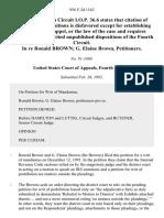In Re Ronald Brown G. Elaine Brown, 956 F.2d 1162, 4th Cir. (1992)