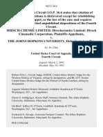 Hirsch-Chemie Limited Hirschscionics Limited Hirsch Cinemedic Corporation v. The Johns Hopkins University, 962 F.2d 6, 4th Cir. (1992)