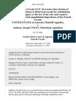 United States v. Anthony Joseph Coley, 981 F.2d 1252, 4th Cir. (1992)