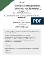 Sayd Mustafa v. U.S. Immigration & Naturalization Service, 4 F.3d 985, 4th Cir. (1993)