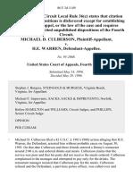 Michael D. Culberson v. H.E. Warren, 86 F.3d 1149, 4th Cir. (1996)