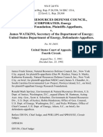 Natural Resources Defense Council, Incorporated Energy Research Foundation v. James Watkins, Secretary of the Department of Energy United States Department of Energy, 954 F.2d 974, 4th Cir. (1992)