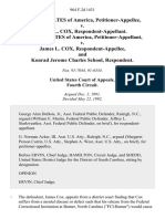 United States v. James L. Cox, United States of America v. James L. Cox, and Konrad Jerome Charles School, 964 F.2d 1431, 4th Cir. (1992)