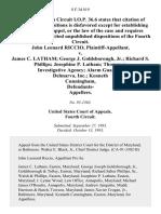 John Leonard Riccio v. James C. Latham George J. Goldsborough, Jr. Richard S. Phillips Josephine P. Latham Thompson Investigative Agency Alarm Guard of Delmarva, Inc. Kenneth Cunningham, Defendants, 8 F.3d 819, 4th Cir. (1993)