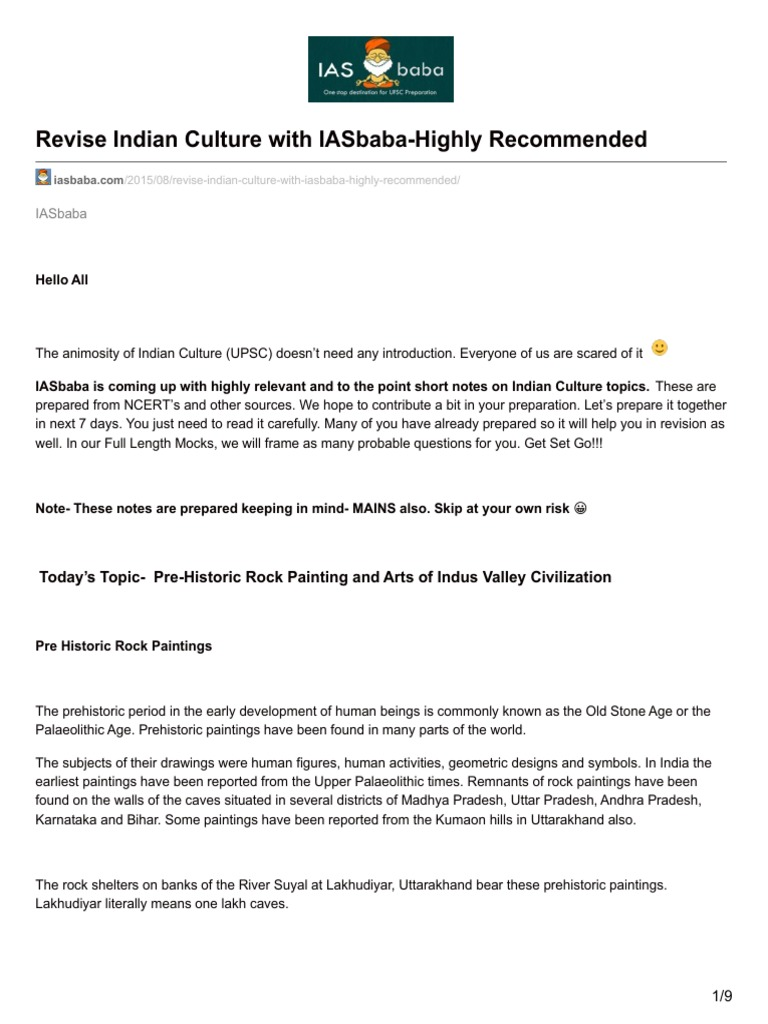 Iasbaba com-Revise Indian Culture With IASbaba-Highly Recommended