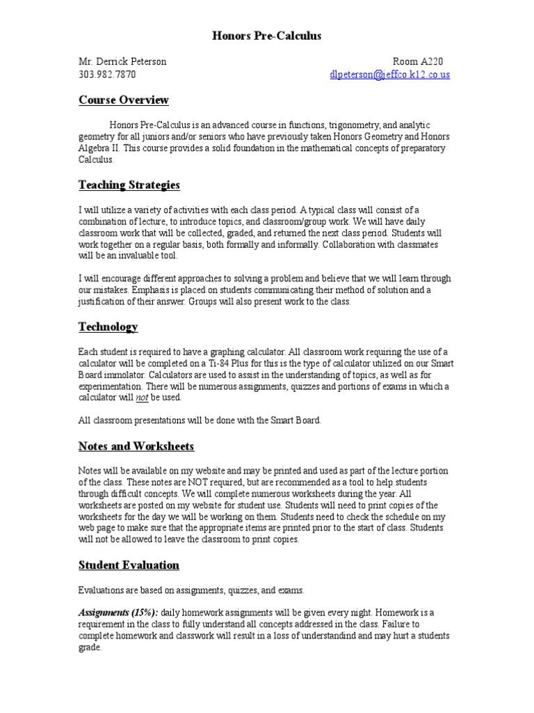 honors pre-calculus syllabus   Homework   Test (Assessment)